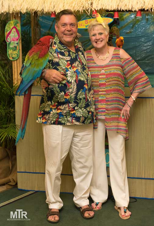 Syria Shriners potentate and lady and a parrot
