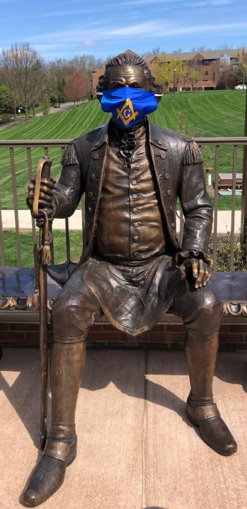 george washington freemason statue dons virus mask